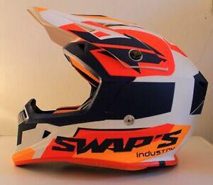 Casque-motocross-SWAP-039-S-BLUR-S818-Bleu-Blanc-Orange-Mat