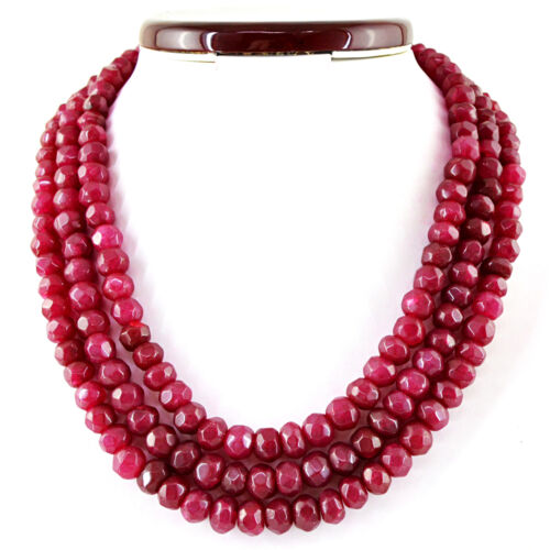 Genuine 3 Strand Natural Ruby Emerald Sapphire Round Faceted Beads Necklace