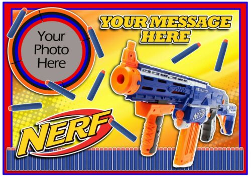 Round,Square or Cupcakes,PERSONALISE NERF GUN Cake Topper A4 Edible ICING