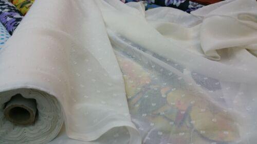 NEW*plain doted chiffon dupatta fabric 3,colours cream-white /& black 44/'/'width