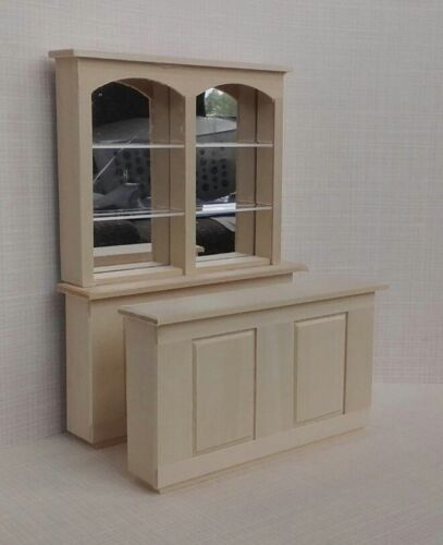 Dollhouse Miniature 3 pc Bar Mirrored Back 6 long unfinished basswood 1:12