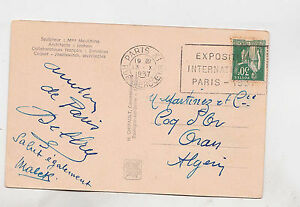 france 1937 pic.p.card with statue on rus. pavilion,int.paris exp.cancel k192