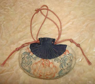 EXQUISITE ANTIQUE 19th CENTURY CHINESE/JAPANESE SILK PURSE, FLOWERS