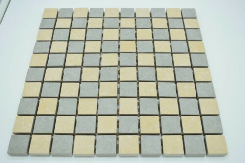 Grey and Beige Slip Resistant  Porcelain Mosaic Tile Sheets 30cmx30cm at 9.3mm