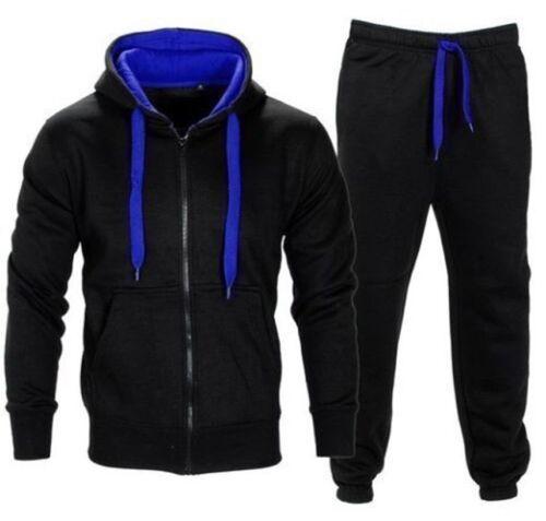 Mens Full Fleece Tracksuit Hooded Top Jogging Bottoms Black Size S M L XL XXL