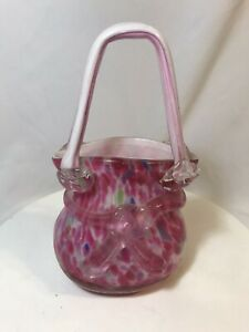 Vintage-Pink-Confetti-Pattern-Murano-Art-Heavy-Cased-Glass-Blown-Purse-Vase