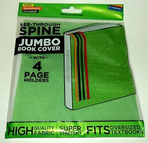 IT-039-S-ACADEMIC-See-Through-Spine-JUMBO-Book-Cover-With-4-Page-Holders-GREEN-NIP