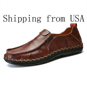 Mens-Moccasins-Leather-Loafers-Shoes-Casual-Fashion-Driving-Slip-On-Flats-Skate