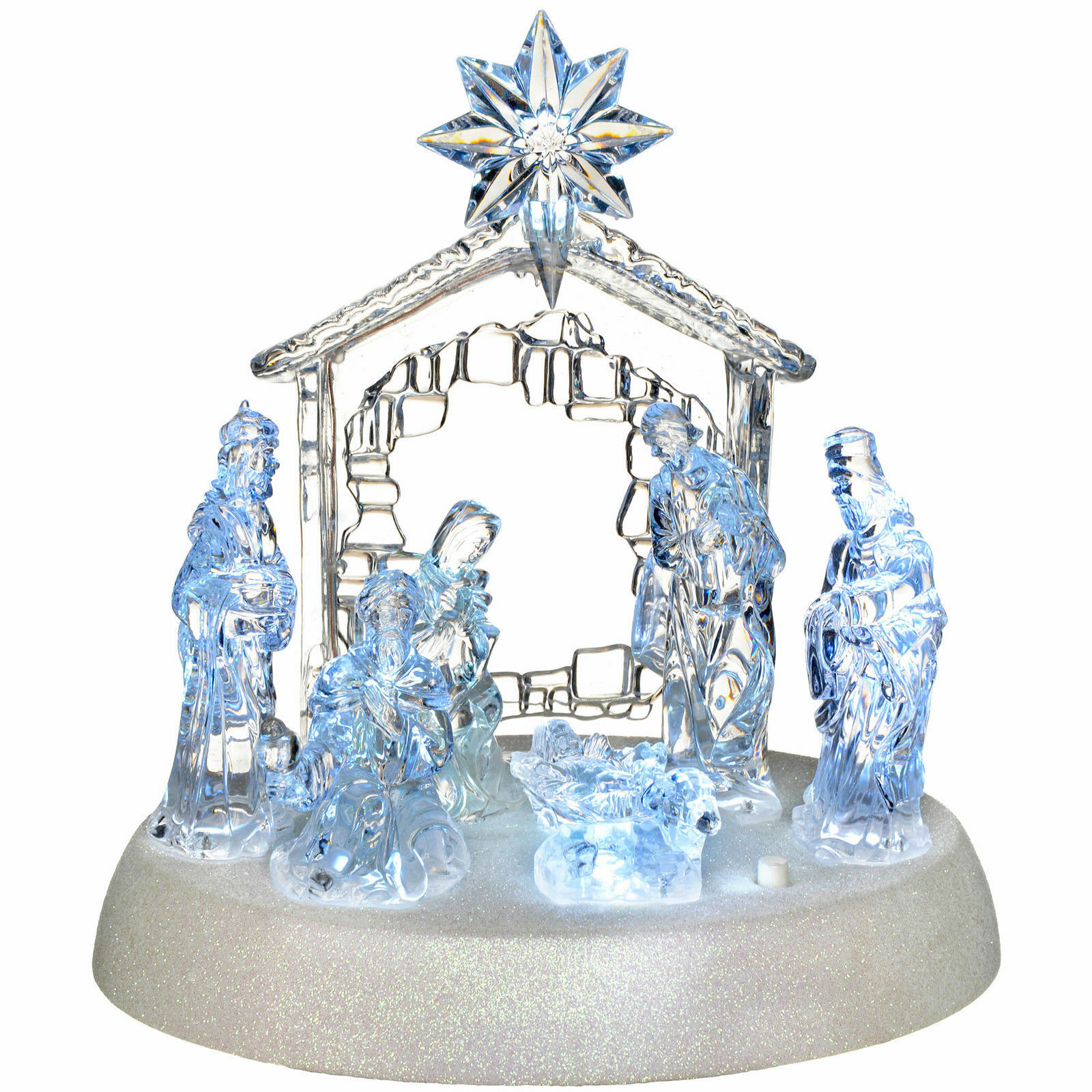 18CM XMAS PRE LIT LED MUSICAL NATIVITY CHRISTMAS SCENE DECORATION 545