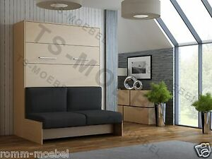schrankbett wandbett klappbett mit sofa classic 140x200 cm holz buche ebay. Black Bedroom Furniture Sets. Home Design Ideas