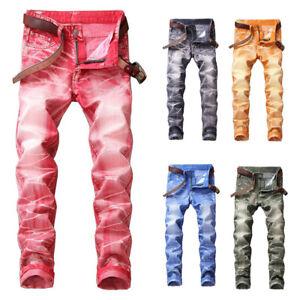 Mens-Stretchy-Skinny-Jeans-Biker-Trousers-Jogger-Slim-Fit-Denim-Ripped-Pants-NEW