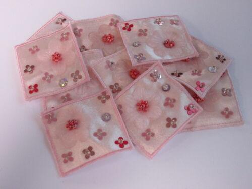 10 X Rosa Flor con cuentas lentejuelas Bordado tarjeta haciendo Artes Artesanales Motivos # 27a72