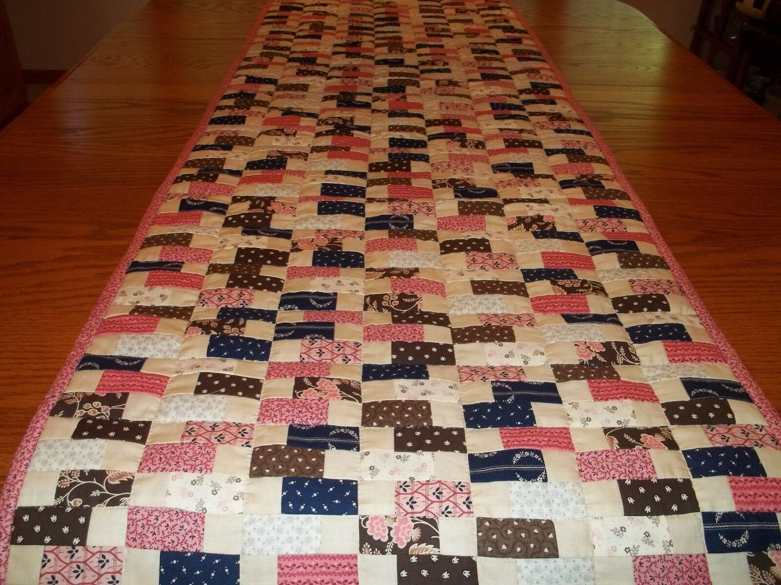 Table Runner Bed Runner, Handcrafted & Hand Quilted, 20 1 2  x 71 , Reversible