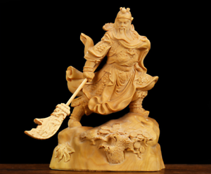 Chinese Box-wood Hand Carving Fengshui Pine Tree Guan Gong Yu Warrior God Statue