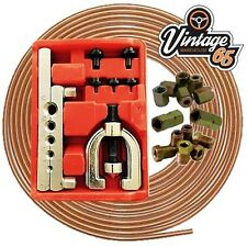 Vauxhall Classic Copper Brake Pipe Line Repair Flaring Tool Kit Nuts Ends