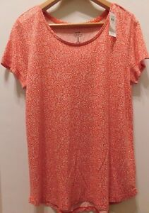 NWT-Gap-Women-039-s-Luxe-T-Shirt-Top-Red-Print-Small-amp-Medium-Free-Ship-New-MSRP-30