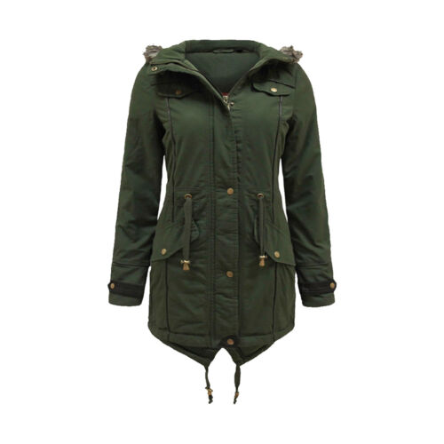 NEW WOMEN/'S FAUX FUR HOODED LADIES DOVETAIL PARKA JACKET MILITARY COAT 8-22