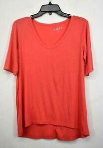 Ann-Taylor-Loft-Women-Orange-Scoop-Neck-Short-Sleeve-Stretch-Casual-Top-Blouse-M