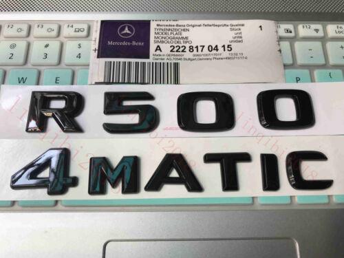 "Gloss Black /"" R500 4 MATIC /"" Number Letters Trunk Badge Emblem for Mercedes Benz"