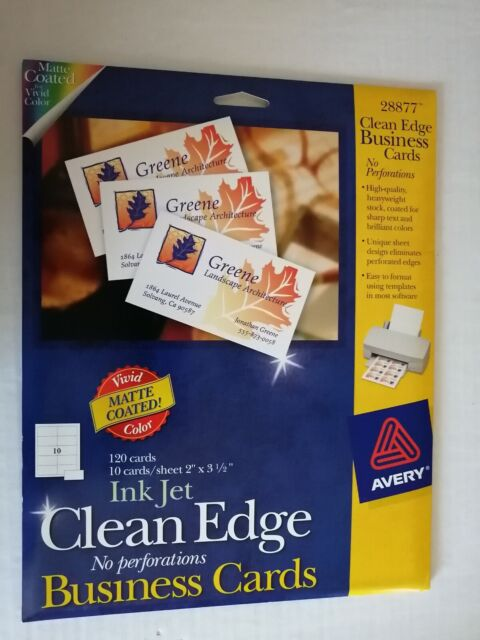 Avery 28877 Clean Edge Matte White 2 Side Print Ink Jet Business Cards 120 For Sale Online Ebay