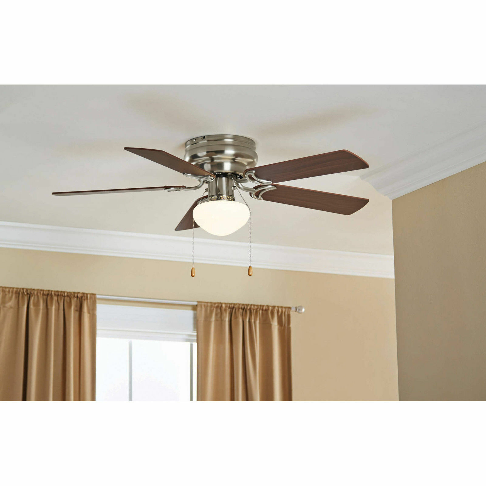 Hampton Bay Hugger 52 Inch Brushed Nickel Ceiling Fan Light