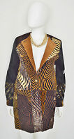 Sandy Starkman Artisan Tapestry Patchwork Animal Print Metallic Long Jacket