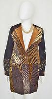 Sandy Starkman Artisan Tapestry Patchwork Animal Print Metallic Long Jacket