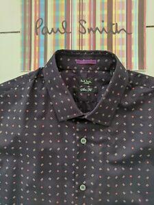 Paul-Smith-Camisa-de-hombre-cuello-16-034-Punos-de-contraste-perfectas-condiciones