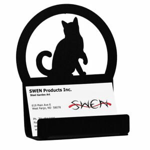 SWEN Products CAT Black Metal Business Card Holder