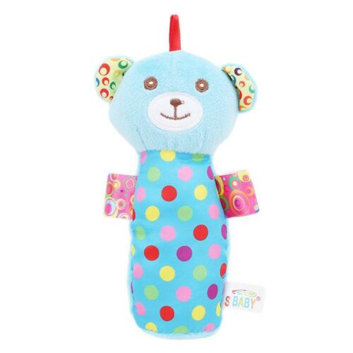 Baby Infant Cartoon Plush Rabbit Bear Rattle Toys Handbell Stuffed Dolls C