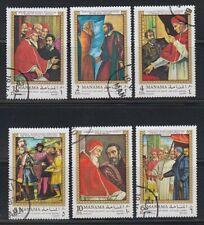 Manama 1970 used Mi.277/82 A Michelangelo Bounarroti Gemälde Paintings Kunst Art