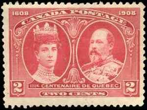 Canada-98-mint-F-VF-OG-H-DG-1908-Quebec-2c-King-Edward-VII-amp-Queen-Alexandra