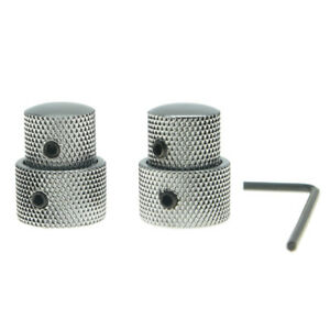 KAISHMetal Dual Concentric Stacked Control Knobs for Electric Guitar Bass Chrome