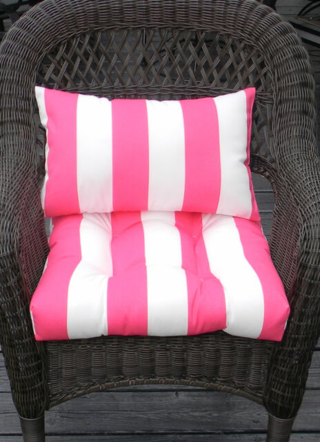WICKER CHAIR CUSHION U0026 LUMBAR PILLOW SET  PINK U0026 WHITE STRIPE   IN/OUTDOOR