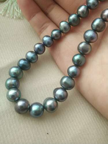 """18/"""" AAA 8-9 Mm South Sea Natural black Pearl Necklace 14k Clasp"""