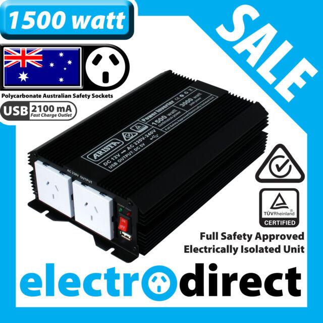 1500W (3000 watt max) Power Inverter 12-240V M Sine Wave Laptop Charger Car Boat