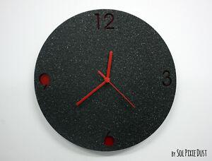 Black Granite Concrete Clock Modern Circle Wall Clock