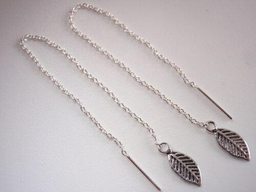 Basic Leaf Threader Earrings 925 Sterling Silver Corona Sun Jewelry