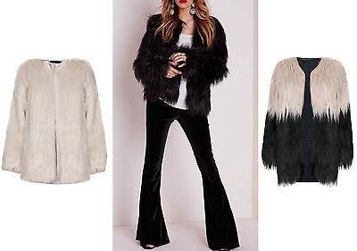 New Women Faux Fur Coat Casual  Black Ladies Long Trench Jacket Outwear 8-14
