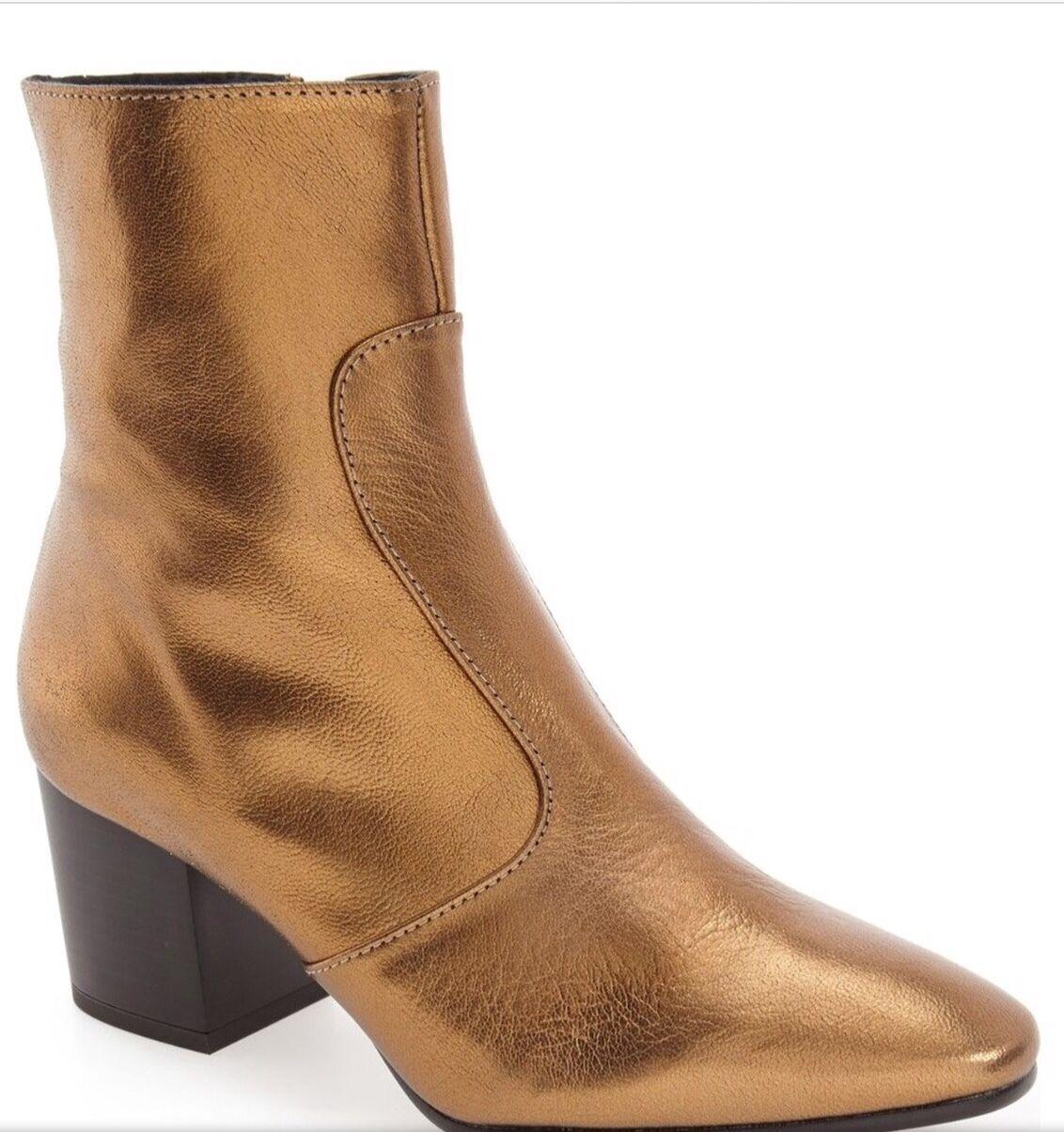 Topshop Damenschuhe Mustard Bronze Metallic Leder Ankle Stiefel, Sz's Us. 5.5 $ 69.50