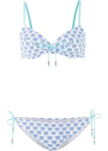 2-tlg Staffa Bikini Tg. 36 (70) C Blu Bianco Costumi Da Bagno Costume Da Bagno Due Divisori Nuovo