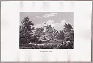 Schloß Rosenau bei Coburg - Grafik, Stich, Original Stahlstich 1861