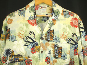 Walt-Disney-World-Mickey-Hawaiian-Aloha-Shirt-Surfing-Woody-Tiki-Skull-Beach-S