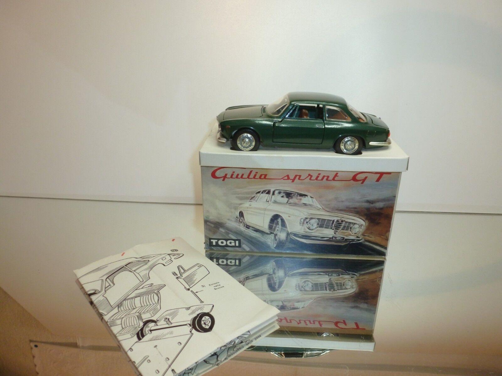 TOGI 8 65 ALFA ROMEO GIULIA SPRINT GT - GREEN METALLIC 1 23 - VERY GOOD IN BOX