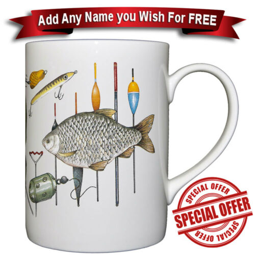 Fishing Fine Bone China Mug Personalised with any name added for free