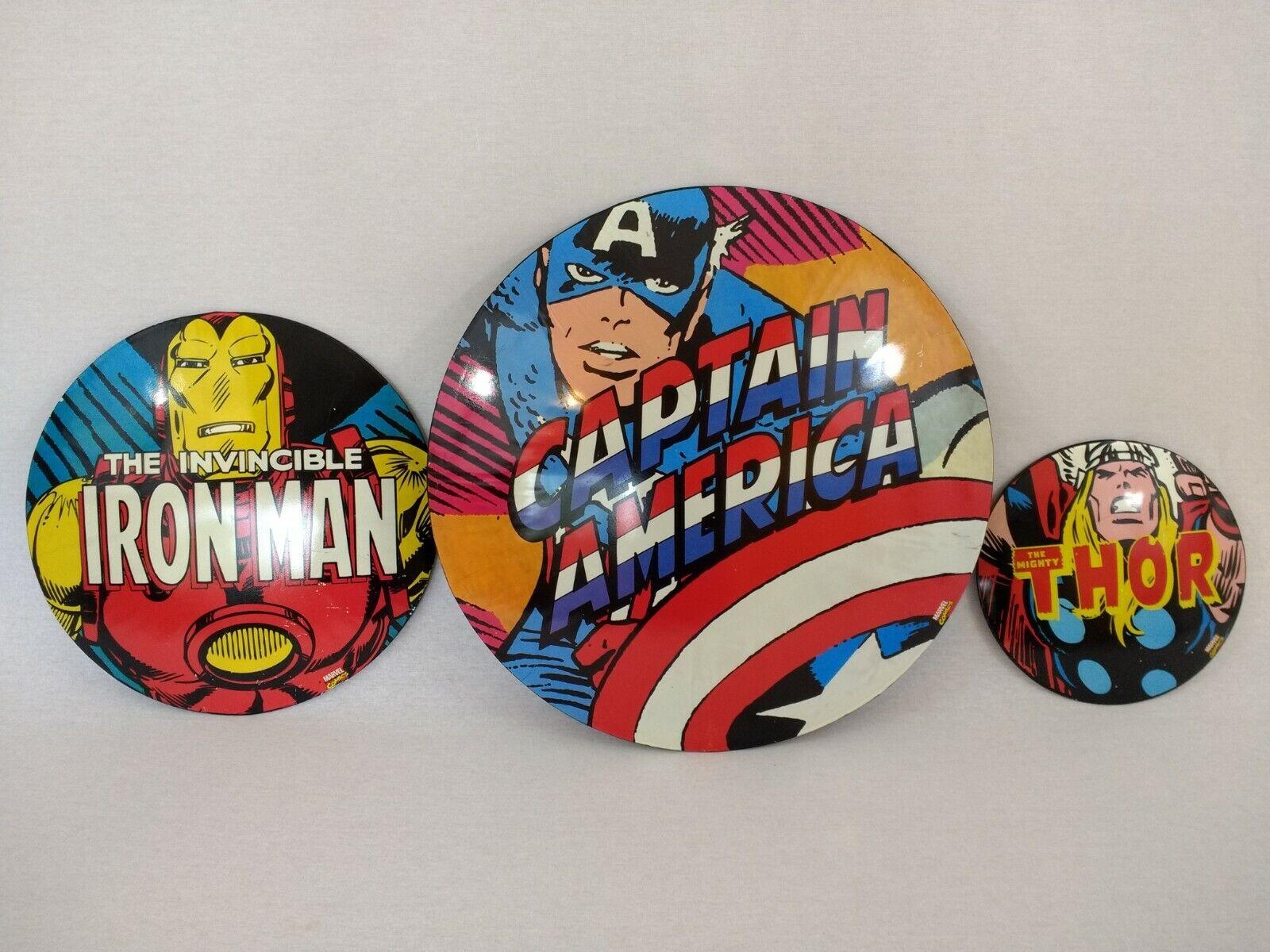 MARVEL Comics Capitan America Iron Man & THOR Muro Appeso in Metallo a cupola segni