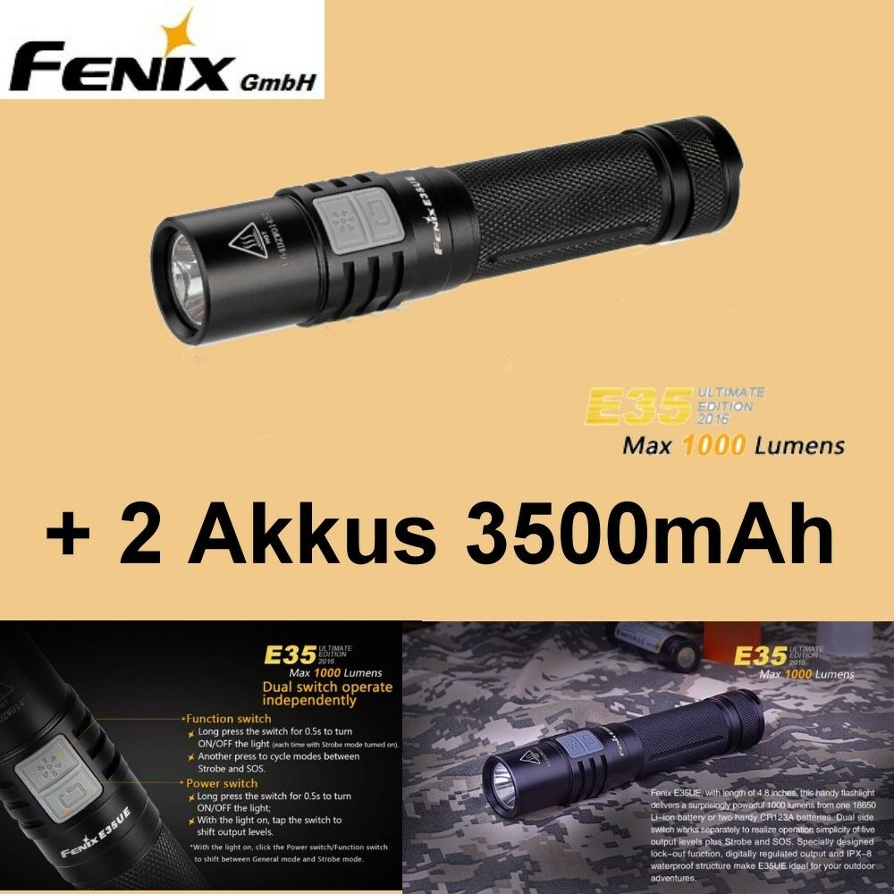 Fenix E35UE 2016 Cree XM-L2 U2 LED Taschenlampe 1000 Lumen + 2 AKKUS