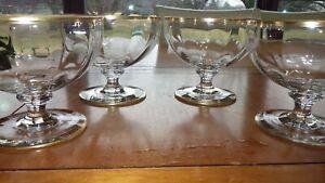 Vintage Dessert Dishes Optic Panel clear bowl gold trim Wafer Stem 4 elegant ste