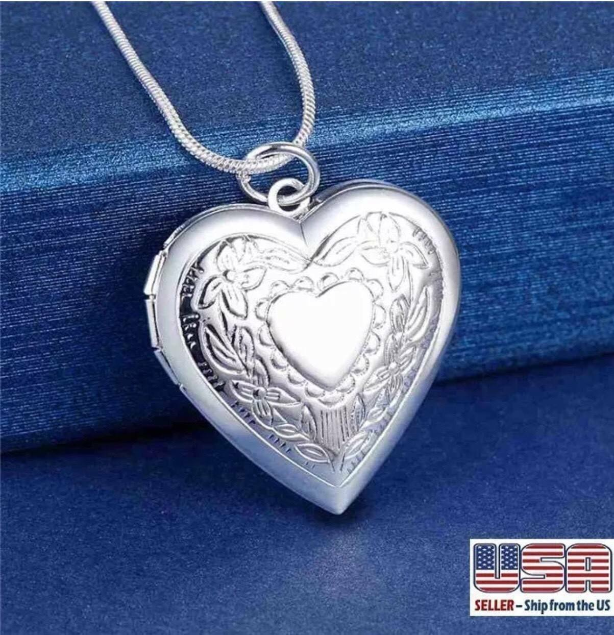 "925 Sterling Silver Heart Necklace, Locket Photo Picture Pendant 18""  N1"