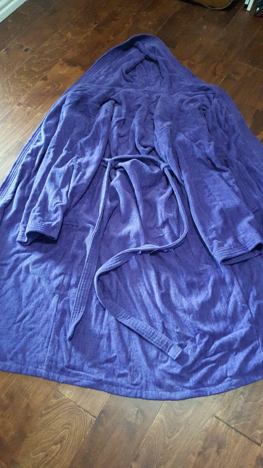Cotton works women bath robe purple size XL